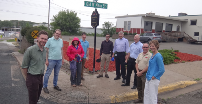 Pre-demonstration pilot site visit with the Red Wing team, including City of Red Wing Public Works, Planning, and members of Live Healthy Red Wing
