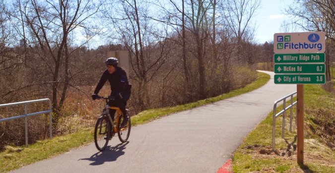 A robust wayfinding system enables people to easily navigate the trail network in Fitchburg